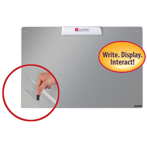 """Justick by Smead, Frameless Mini dry-erase board with Clear Overlay, 24""""W x16""""H with Justick Electro Surface Technology, Silver (02556)"""