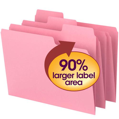 Smead SuperTab File Folder 11819, Oversized 1/3-Cut Tab, Letter, Dark Pink - 10 Packs