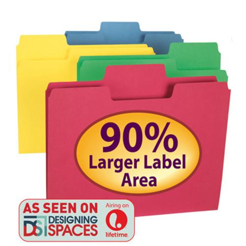 Smead SuperTab File Folder 11956, Oversized 1/3-Cut Tab, Letter, Assorted Colors - 10 Packs