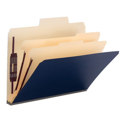 "Smead SuperTab Classification File Folder with SafeSHIELD Fasteners 14010, 2 Dividers, 2"" Expansion, Letter, Dark Blue - Total of 5"