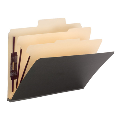"""Smead SuperTab Classification File Folder with SafeSHIELD Fasteners 14011, 2 Dividers, 2"""" Expansion, Letter, Dark Gray - Total of 5"""