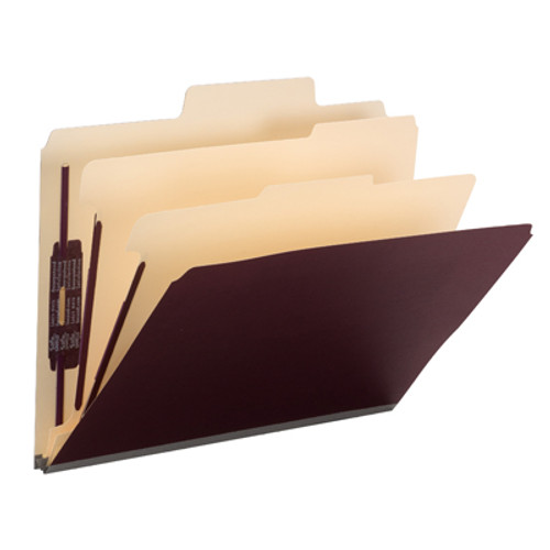 """Smead SuperTab Classification File Folder with SafeSHIELD Fasteners 14013, 2 Dividers, 2"""" Expansion, Letter, Maroon - Total of 5"""