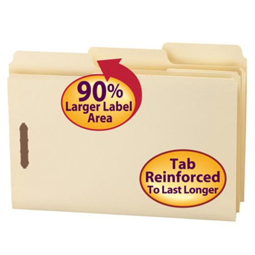 Smead SuperTab® Heavyweight Fastener File Folder, 2 Fasteners, Reinforced 1/3-Cut Tab, Guide Height, Legal Size, Manila, 50 per Box (19545)