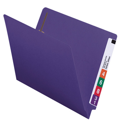 Smead End Tab Fastener File Folder 25440, Shelf-Master Reinforced Straight-Cut Tab, 2 Fasteners, Letter, Purple - Total of 5
