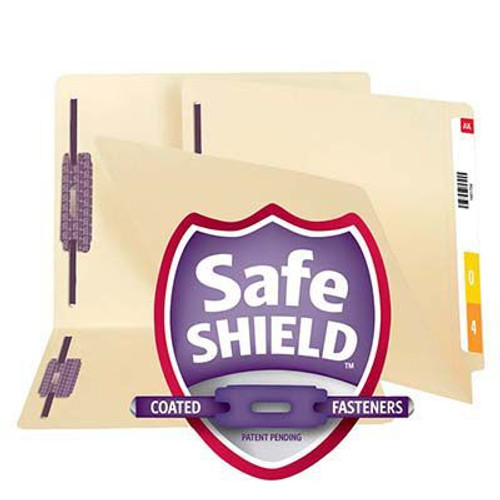 Smead End Tab Fastener File Folder with SafeSHIELD® 34117, Shelf-Master® Reinforced Straight-Cut Tab, 2 Fasteners, Letter, Manila