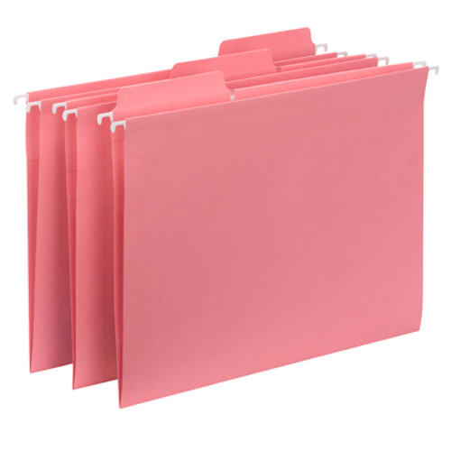 Smead FasTab Hanging Folder 64014, 1/3-Cut Built-In Tab, Letter, Dark Pink - 10 Packs