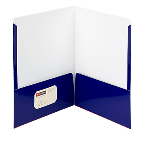 Smead High Gloss Two-Pocket File Folder 87877, Up to 50 Sheets, Letter, Navy