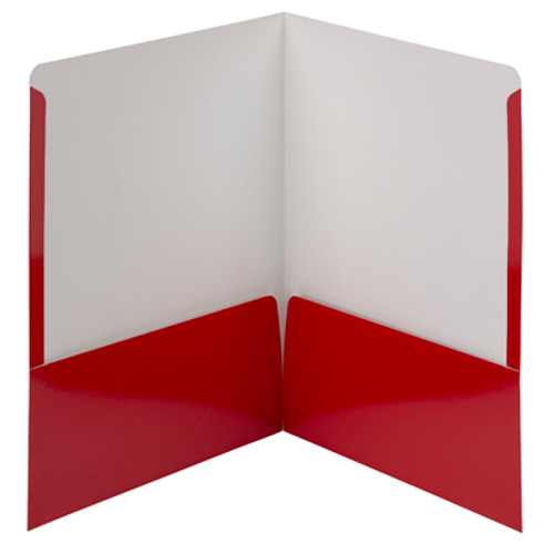 Smead High Gloss Two-Pocket File Folder 87880, Up to 50 Sheets, Letter, Red