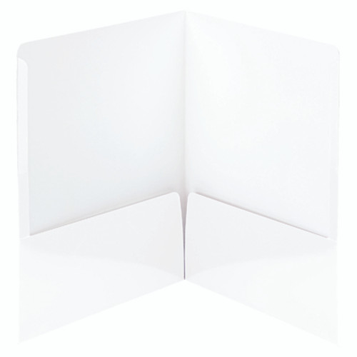 Smead High Gloss Two-Pocket File Folder 87883, Up to 50 Sheets, Letter, White