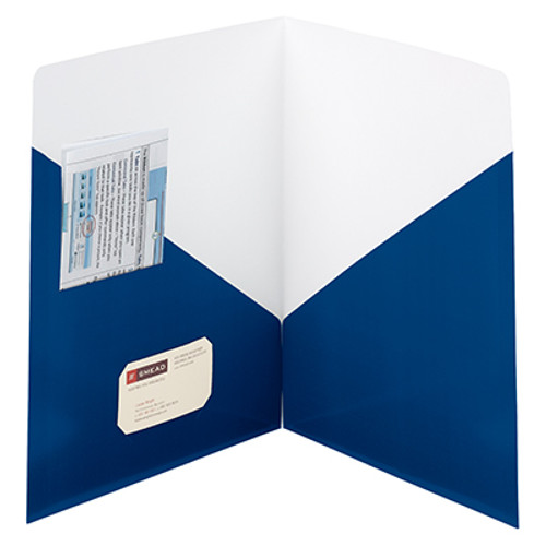 Smead Contemporary Two-Pocket File Folder 87960, Holds Up to 50 Sheets, Letter, Dark Blue - 25/Box