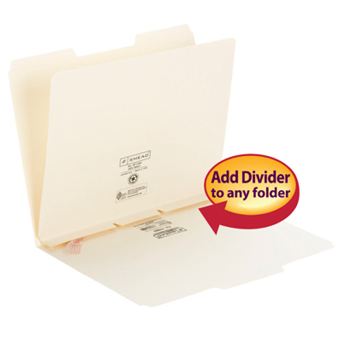 Smead Self-Adhesive Folder Dividers 68021, Side Flap Style, Letter, Manila - 100/Box