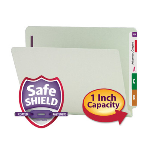 """Smead End Tab Pressboard Fastener File Folder with SafeSHIELD® Fastener 34705, 2 Fasteners, 1"""" Expansion, Letter, Gray/Green - 25 per Box - Total of 5 Boxes"""