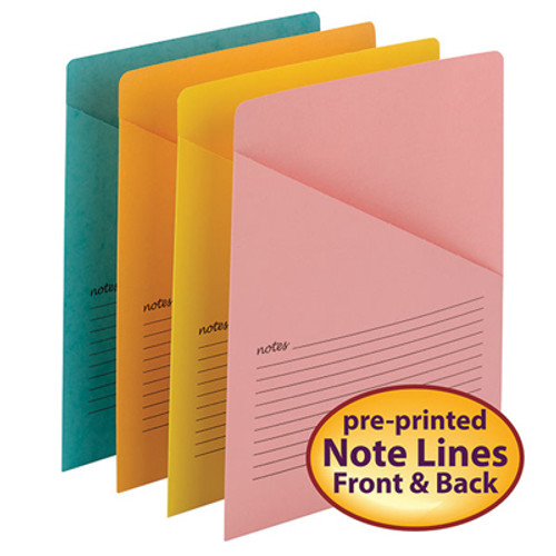 Smead Organized Up Notes Slash Jacket, Letter Size, Assorted Colors, 12 per Pack - Total of 6 Packs