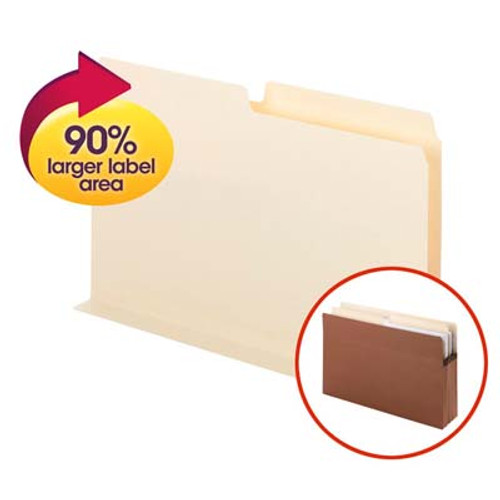 Smead SuperTab® Pocket Divider 68070, Oversize 1/2-Cut Tab, 2 Dividers per Insert, Legal, Manila