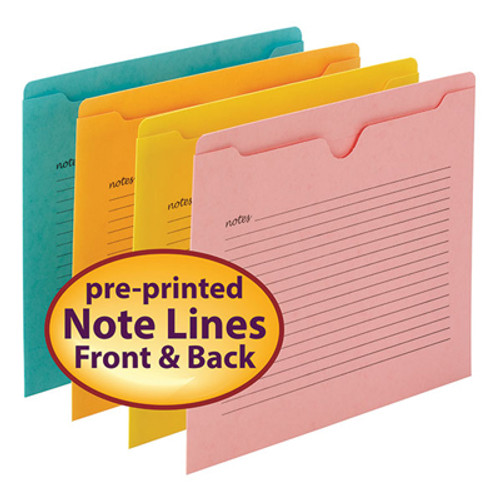 Smead Notes File Jacket, Letter Size, Flat-No expansion, Assorted Colors, 12 per Pack - Total of 6 Packs