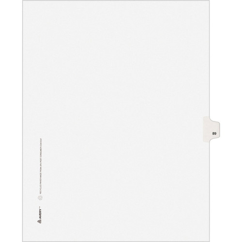 Exhibit Dividers - Avery Style Legal Exhibit Side Tabs - Title: 89 - Letter Size - White - 25/Pack