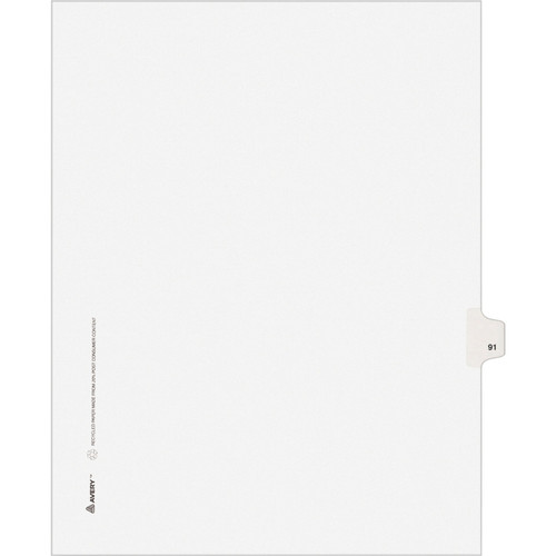 Exhibit Dividers - Avery Style Legal Exhibit Side Tabs - Title: 91 - Letter Size - White - 25/Pack