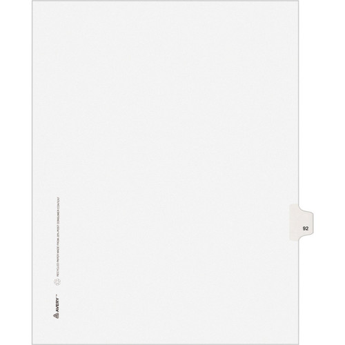 Exhibit Dividers - Avery Style Legal Exhibit Side Tabs - Title: 92 - Letter Size - White - 25/Pack