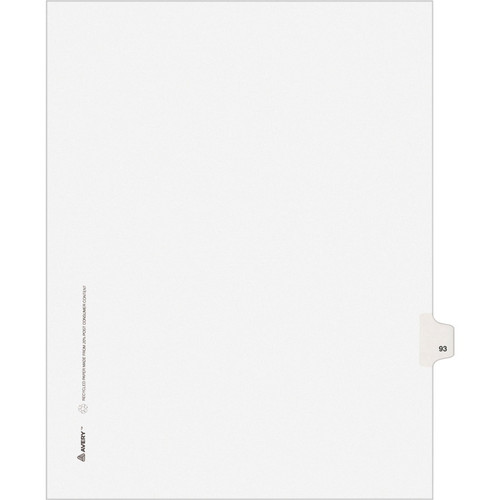 Exhibit Dividers - Avery Style Legal Exhibit Side Tabs - Title: 93 - Letter Size - White - 25/Pack