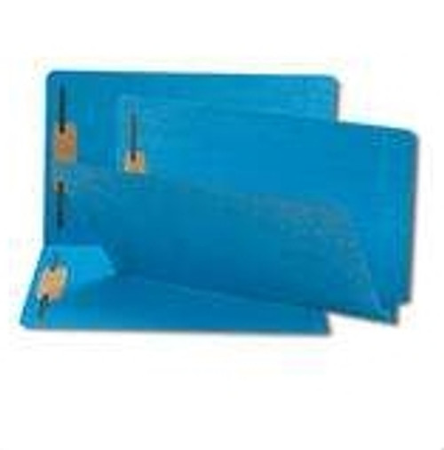 Blue End Tab Folders with Fasteners in Positions 1 & 3 - Letter Size - 11 pt.  - Reinforced End Tab - 100/Box