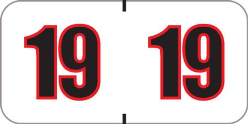 POS Series Yearband Label - 2019 -  WHITE/BLACK YEAR LABEL - PRYM - 500/Roll