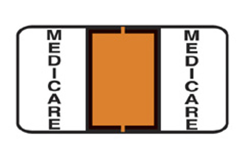 "Jeter Specialty Label ""Medicare"" - Color Orange - Sheets for File Box - 1-1/2"" W x 3/4"" H - 240 Labels Per Pack"