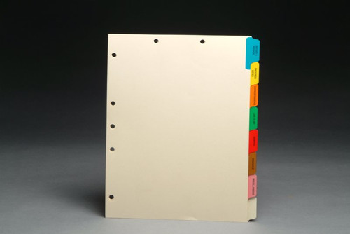 Stock Medical Chart Divider Sets -  8 Side Tabs with Pre-Printed Medical Tabs - 50 Sets/Box