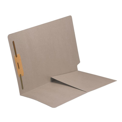 End Tab Folder with 1/2 Pocket Inside Front - 14 Pt. Gray -  1 Fastener in Position #1 - Reinforced Tab - Letter Size - 50/Box
