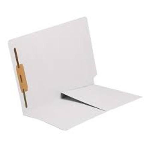 End Tab Folder with 1/2 Pocket Inside Front - 14 Pt. White -  1 Fastener in Position #1 - Reinforced Tab - Letter Size - 50/Box