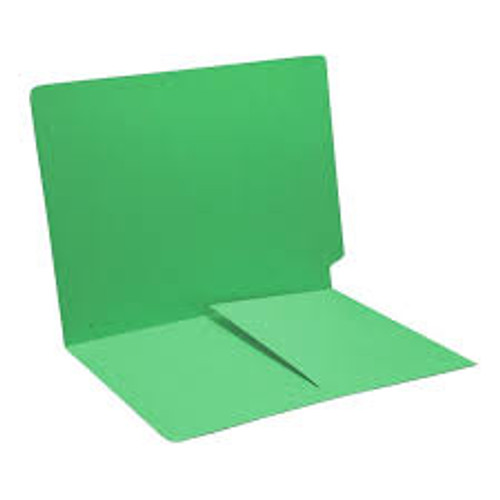 End Tab Folder with 1/2 Pocket Inside Front - 14 Pt. Green -  1 Fastener in Position #1 - Reinforced Tab - Letter Size - 50/Box