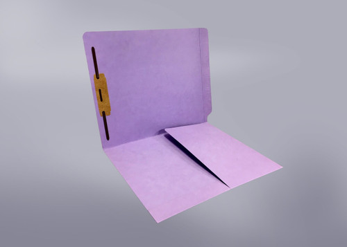 End Tab Folder with 1/2 Pocket Inside Front - 14 Pt. Lavender - Fastener in Position #1 - Reinforced Tab - Letter Size - 50/Box