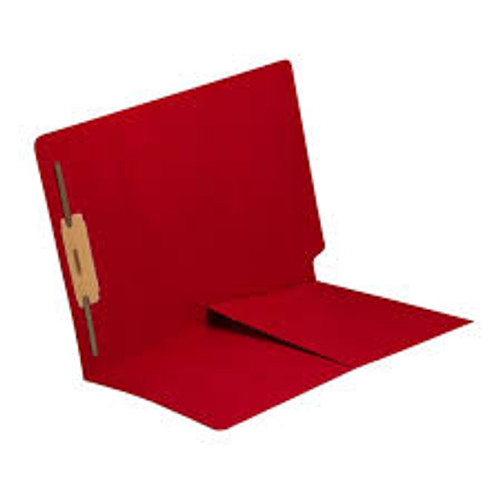 End Tab Folder with 1/2 Pocket Inside Front - 14 Pt. Red -  1 Fastener in Position #1 - Reinforced Tab - Letter Size - 50/Box