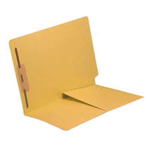 End Tab Folder with 1/2 Pocket Inside Front - 14 Pt. Yellow -  1 Fastener in Position #1 - Reinforced Tab - Letter Size - 50/Box