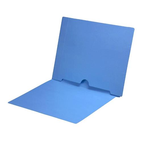Full Size Back Panel Pocket Folder, 11 Pt. Blue Colored Stock, Full Cut End Tab - Letter Size, 50/Box