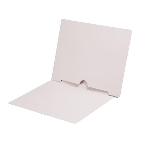 Full Size Back Panel Pocket Folder, 11 Pt. White Colored Stock, Full Cut End Tab - Letter Size, 50/Box