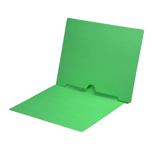 Full Size Back Panel Pocket Folder, 11 Pt. Green Colored Stock, Full Cut End Tab - Letter Size, 50/Box