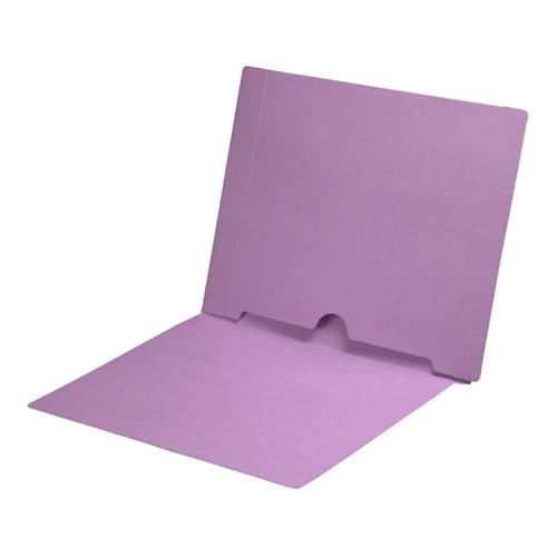 Full Size Back Panel Pocket Folder, 11 Pt. Lavender Colored Stock, Full Cut End Tab - Letter Size, 50/Box