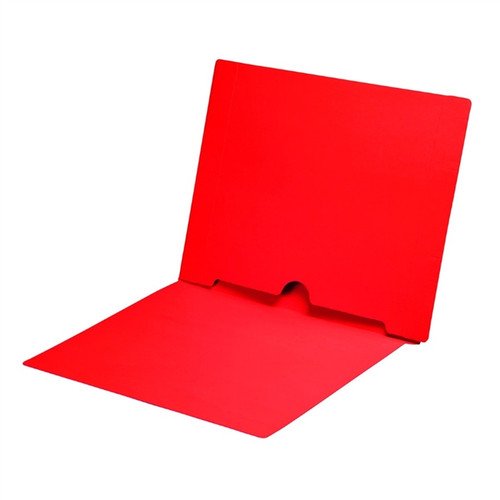 Full Size Back Panel Pocket Folder, 11 Pt. Red Colored Stock, Full Cut End Tab - Letter Size, 50/Box