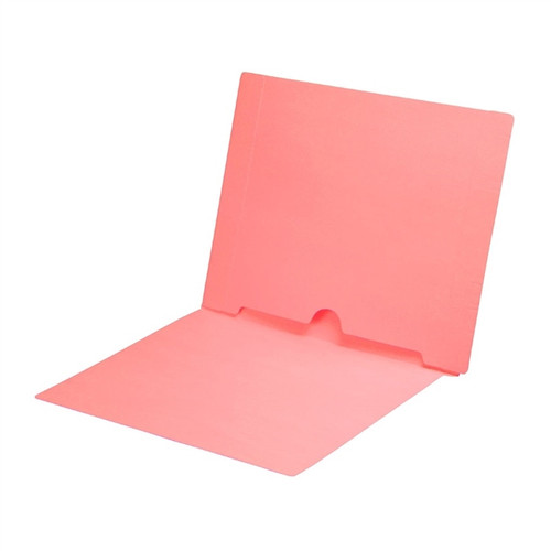 Full Size Back Panel Pocket Folder, 11 Pt. Pink Colored Stock, Full Cut End Tab - Letter Size, 50/Box