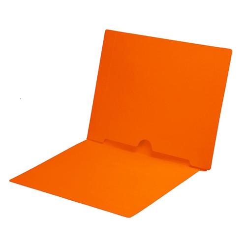 Full Size Back Panel Pocket Folder, 11 Pt. Orange Colored Stock, Full Cut End Tab - Letter Size, 50/Box