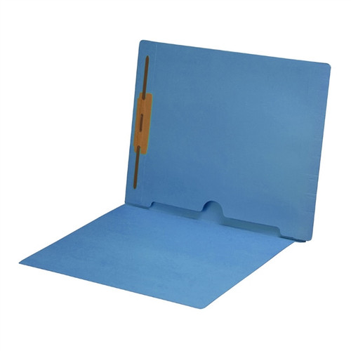 Full Size Back Panel Pocket Folder with 1 Fastener in Position #1 -  11 Pt. Blue Colored Stock - Letter Size -  Full Cut End Tab - 50/Box