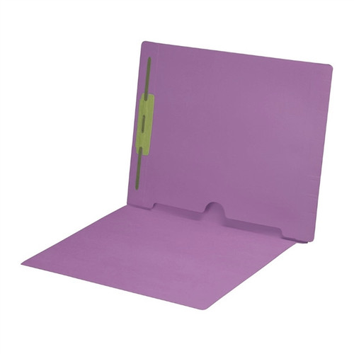 Full Size Back Panel Pocket Folder with 1 Fastener in Position #1 -  11 Pt. Lavender Colored Stock - Letter Size -  Full Cut End Tab - 50/Box