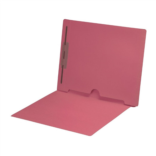 Full Size Back Panel Pocket Folder with 1 Fastener in Position #1 -  11 Pt. Pink Colored Stock - Letter Size -  Full Cut End Tab - 50/Box