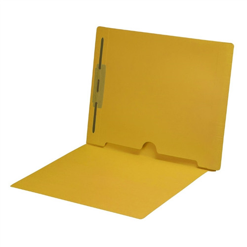 Full Size Back Panel Pocket Folder with 1 Fastener in Position #1 -  11 Pt. Yellow Colored Stock - Letter Size -  Full Cut End Tab - 50/Box