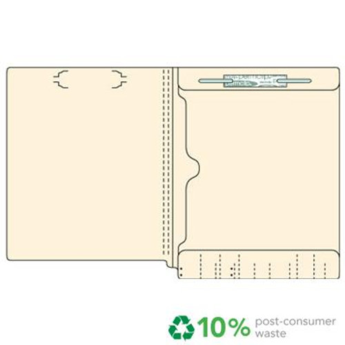 End Tab File Folder with Full Size Pocket on Inside Back Panel - Fastener in Position 1 -  11 PT. Manila - Letter Size -  Reinforced Tab - Box of 50