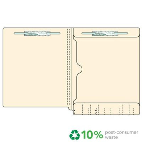 End Tab File Folder with Full Size Pocket on Inside Back Panel - Fasteners in Position 1 & 3 -  11 PT. Manila - Letter Size -  Reinforced Tab - Box of 50