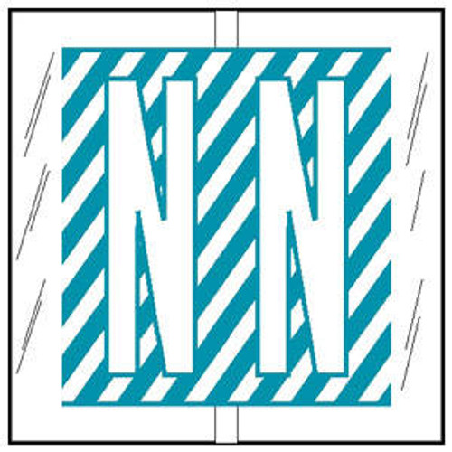 """Col'R'TAB Top Tab Alpha Labels - 82100 Series - Letter 'N' - Light Blue - 1-1/2"""" H x 1-1/2"""" W - Labels on Sheets - 100/Pack"""