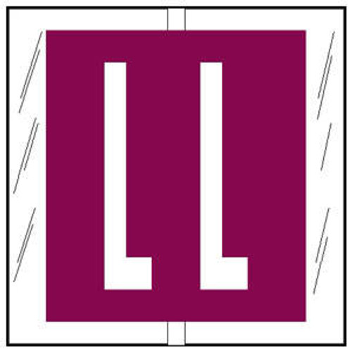 """Col'R'TAB Top Tab Alpha Labels - 82100 Series - Letter 'L' - Purple- 1-1/2"""" H x 1-1/2"""" W - Labels on Sheets - 100/Pack"""