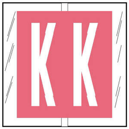"""Col'R'TAB Top Tab Alpha Labels - 82100 Series - Letter 'K' - Pink- 1-1/2"""" H x 1-1/2"""" W - Labels on Sheets - 100/Pack"""