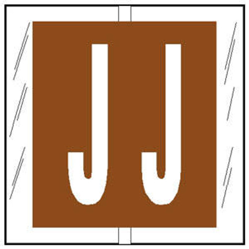 """Col'R'TAB Top Tab Alpha Labels - 82100 Series - Letter 'J' - Brown- 1-1/2"""" H x 1-1/2"""" W - Labels on Sheets - 100/Pack"""